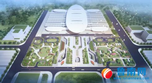 鲁南高铁临沂北站站前广场主体结构完工