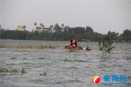 3人被困沂河小岛,警民联手救援
