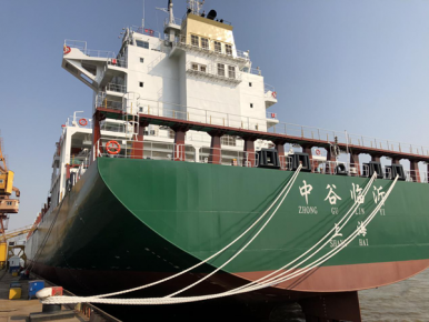 """首艘""""临沂号""""集装箱货轮亮相 标志着临沂与中谷海运集团合�"""