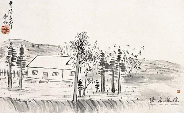 齐白石  借山图卷(共二十二开) 之一 创作年代:1910 规格:30×48
