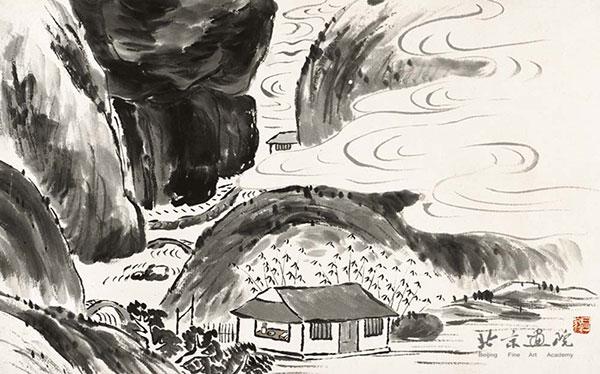 齐白石   借山图卷(共二十二开) 之七 创作年代:1910 规格:30×48