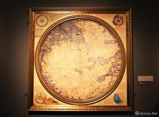弗拉·毛罗世界地图  1459年 弗拉·毛罗绘制  250x250cm 原件收藏于意大利威尼斯马尔恰那国家图书馆