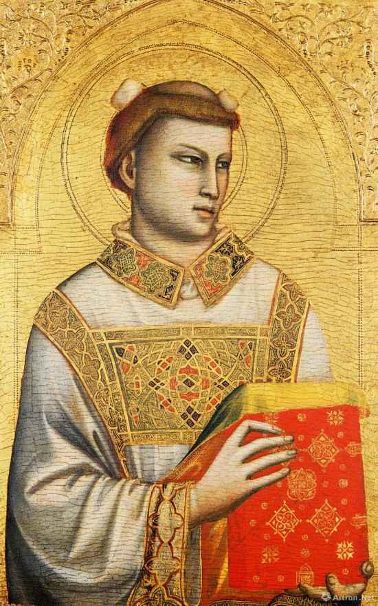 圣史蒂芬  1320年—1325年 乔托·迪邦多内  木板坦培拉84cm×54cm  意大利佛罗伦萨霍恩基金会藏