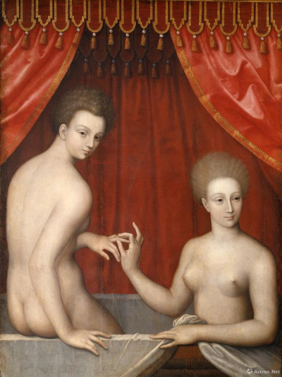 《沐浴中的女人》  公元16世纪末 枫丹白露画派画家  木板油画   158x129x10.5cm  意大利乌菲齐美术馆藏