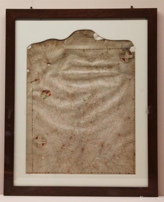 航海图 1311年  皮埃特罗·维斯孔特绘制   兽皮纸,彩绘  47x62cm  意大利佛罗伦萨国家档案馆藏